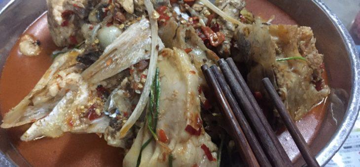 中国の釣り堀で釣り。ハクレンを食べる。